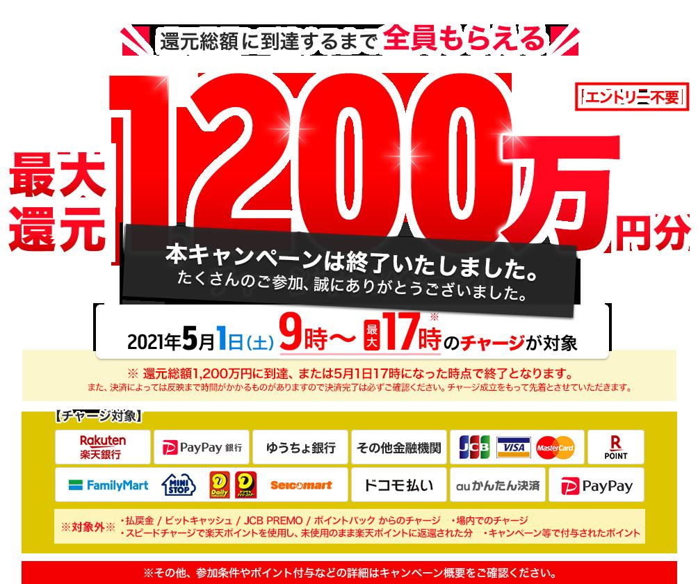 最大1,200万円分還元!チャージキャンペーン