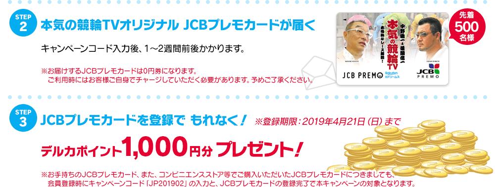 step2:本気の競輪TVオリジナルJCBプレモカードが届く!step3:JCBプレモカードを登録でもれなくデルカポイント1,000ポイントプレゼント!