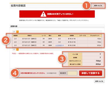 通常時の投票内容確認の画面