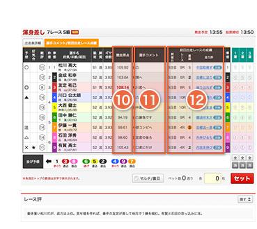 選手コメント/前回出走レース成績の画面